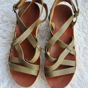 Lucky Brand Green Strappy Platform Sandals